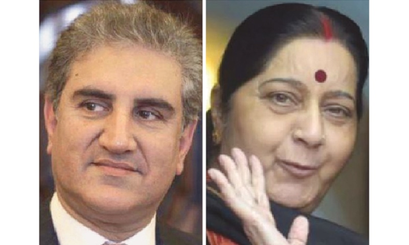 FOREIGN Minister Shah Mehmood Qureshi and  his Indian counterpart Sushma Swaraj
