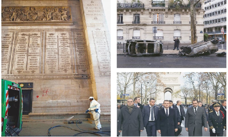 PARIS: Clean-up operations (left) underway on Sunday to remove graffiti scrawled at the Arc de Triomphe. Charred cars (top right) near the Arc de Triomphe. French President Emmanuel Macron (centre) and other officials arrive to visit firefighters and riot police officers a day after the riots.—Agencies