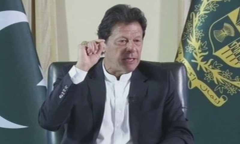Prime Minister Imran Khan speaks during an interview with a group of journalists. — DawnNewsTV screengrab