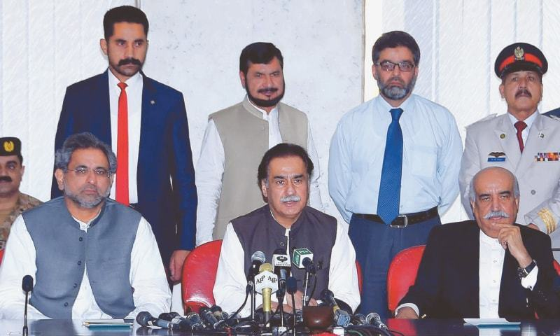 (Left to right) MNAs Shahid Khaqan Abbasi, Ayaz Sadiq and Khursheed Shah. — File photo