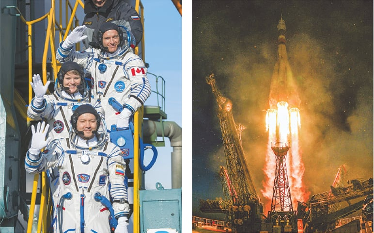 FLIGHT engineer David Saint-Jacques (top), flight engineer Anne McClain of NASA (centre) and Soyuz commander Oleg Kononenko wave farewell prior to boarding Russia's Soyuz MS-11 spacecraft. (Right) The spacecraft, carrying the astronauts, takes off from the Baikonur Cosmodrome in Kazakhstan on Monday. The three will spend the next six months onboard the International Space Station. It was the first manned mission since a failed launch in October.—AFP / AP