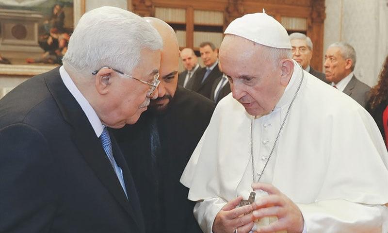 فلسطینی صدر محمود عباس نے پوپ فرانسس سے ملاقات کی: فوٹو اے پی