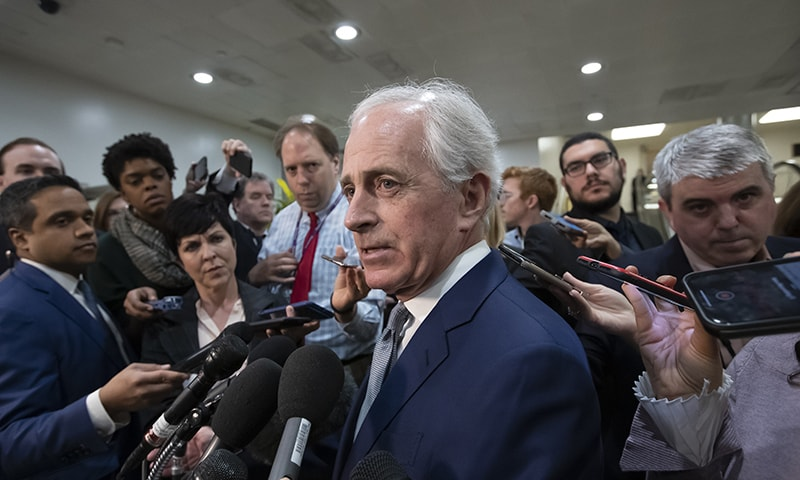 Senate Foreign Relations Committee Bob Corker, R-Tenn, speaks to reporters after the closed-door security briefing by CIA Director Gina Haspel on the slaying of Saudi journalist Jamal Khashoggi and involvement of the Saudi crown prince, Mohammed bin Salman. —AP