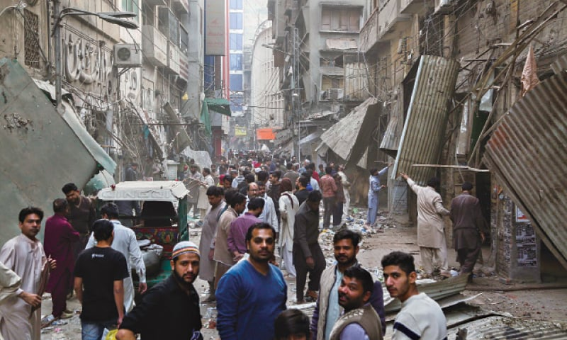 A massive operation against illegal structures continues in Shahalam market. — White Star