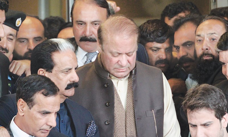 ISLAMABAD: Former prime minister Nawaz Sharif leaves the Supreme Court building after the hearing on Tuesday.—Online