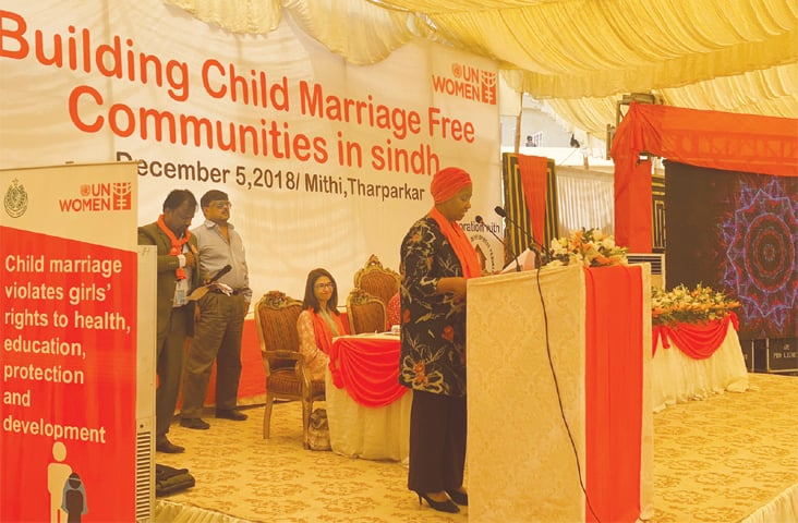 UN Under-Secretary General and UN Women Executive Director Phumzile Mlambo-Ngcuka speaks at the event in Thar.—Dawn