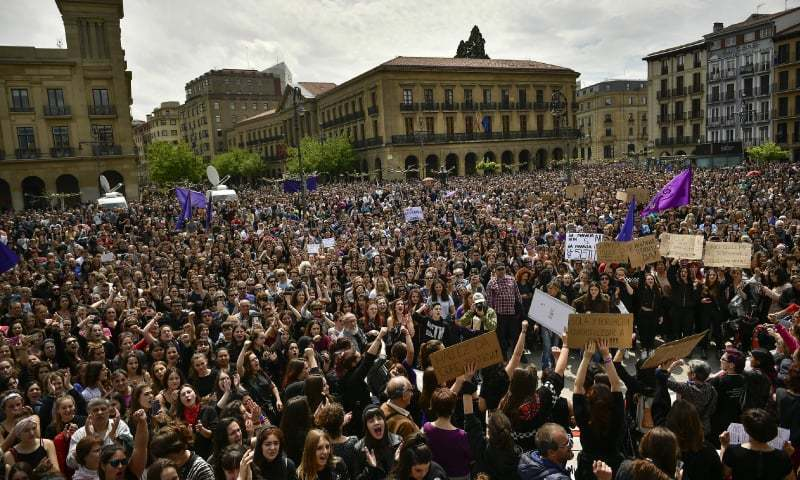 Thousands of people protest at the Plaza del Castillo square in Spain. — File photo