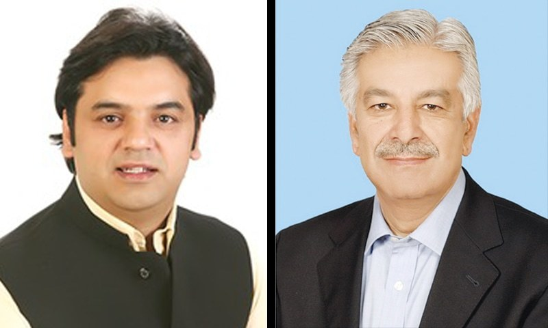 Usman Dar (left) and Khawaja Asif (right) have been involved in a long-running political tiff. — File
