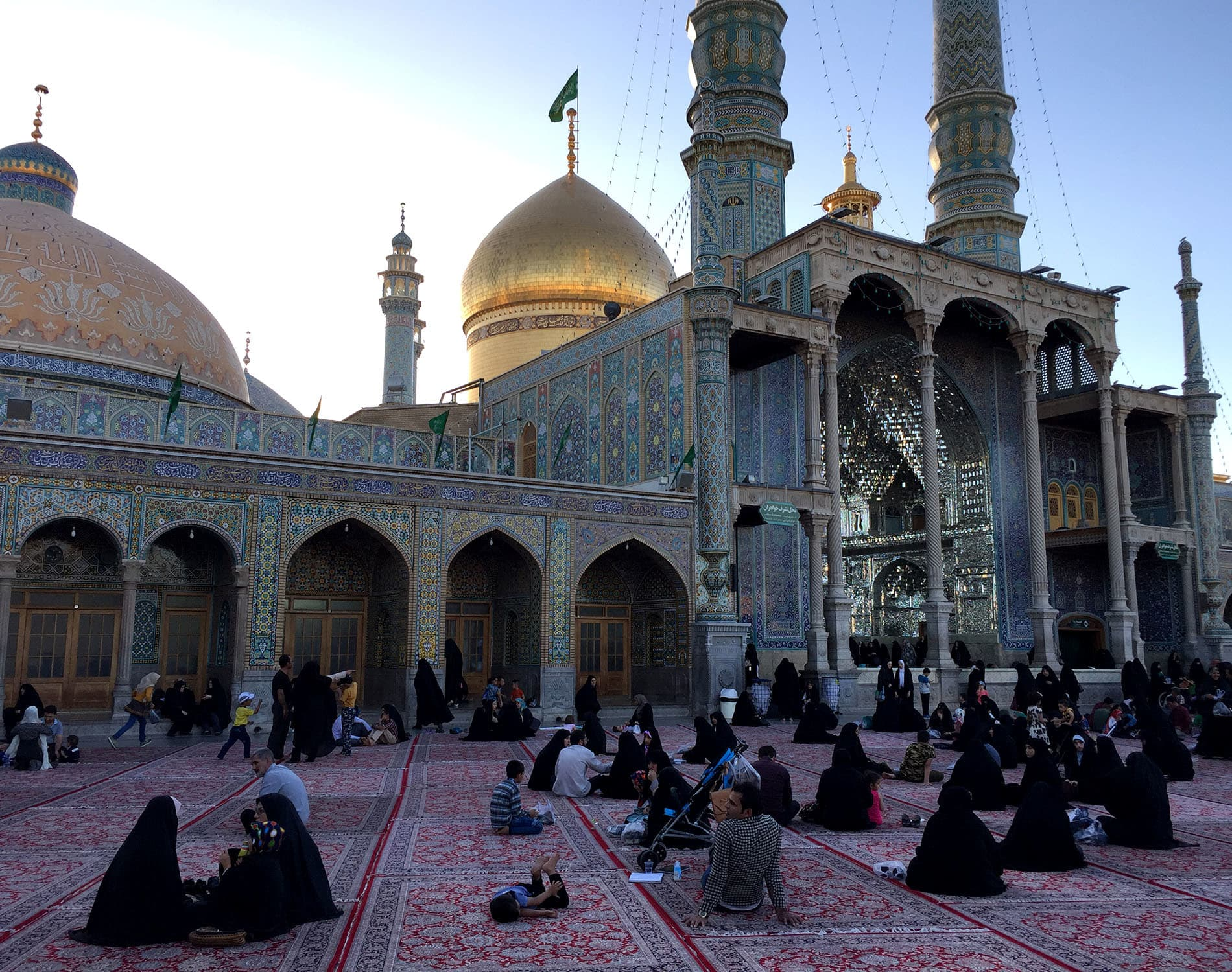 Fatima Masoumeh shrine in Qom houses the tomb of the sister of the eighth Shia Imam Reza. The shrine is the largest and most important shrine to a female saint in Iran, receiving around 20 million pilgrims yearly.