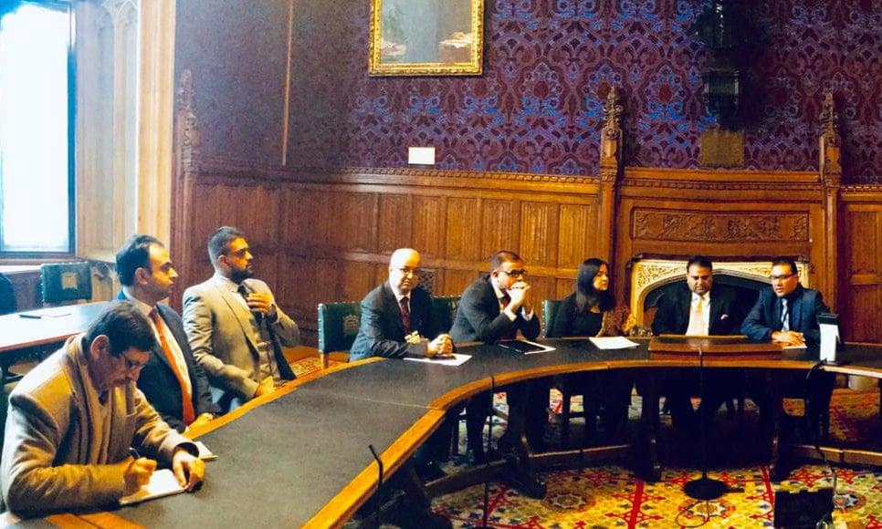 Information minister briefs British parliamentarians on the PTI government's socio-economic reforms agenda. —PID