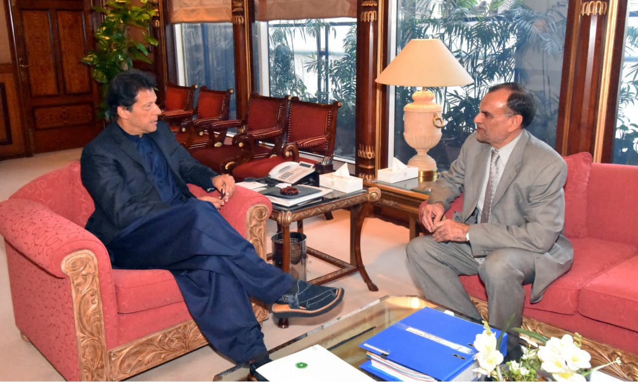 Azam Swati calls on PM Imran Khan at PM House in Islamabad. —PID