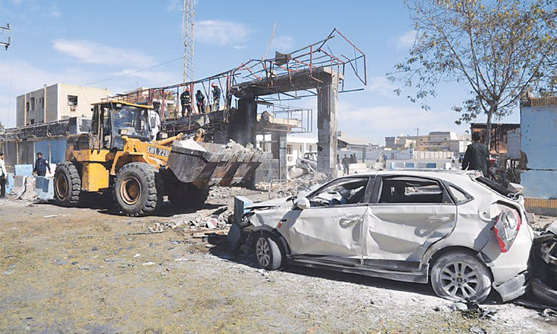 THIS photo released by Tasnim News Agency shows the devastation caused by an attack on the police headquarters in the Iranian city of Chabahar on Thursday.—AP