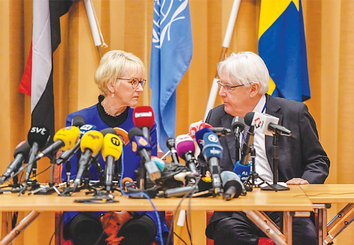 RIMBO (Sweden): Swedish Foreign Minister Margot Wallstrom and UN envoy to Yemen Martin Griffiths attend the press conference on UN-sponsored peace talks for Yemen on Thursday.—Reuters