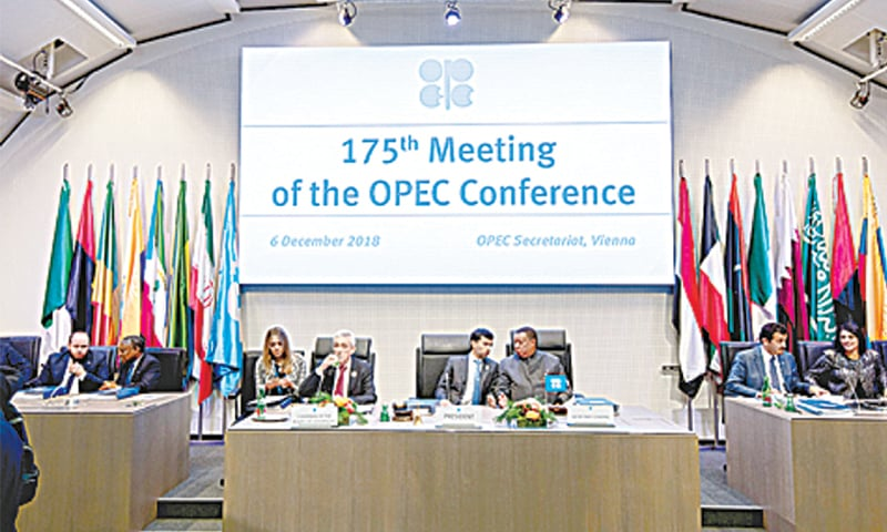 AUSTRIA: Opec President and Energy Minister of the UAE Suhail al-Mazrouei (fourth right) opens the 175th Opec Conference in Vienna on Wednesday.—AFP