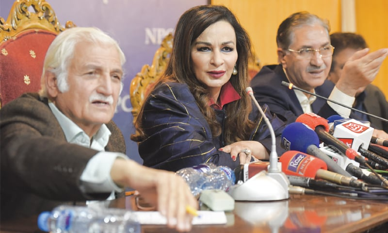 ISLAMABAD: Pakistan People Party leaders Farhatullah Babar, Senator Sherry Rehman and Nayyar Bukhari address a press conference on Thursday.—Tanveer Shahzad/White Star