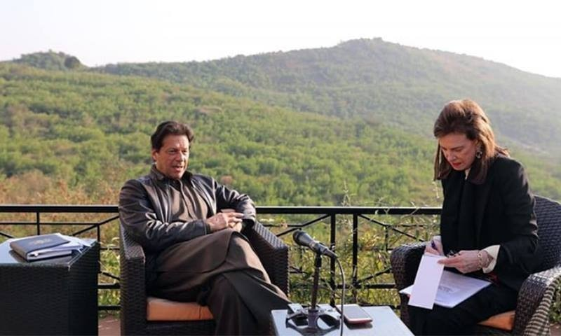 Prime Minister Imran Khan is interviewed by Washington Post journalist Lally Weymouth (R). — PTI official