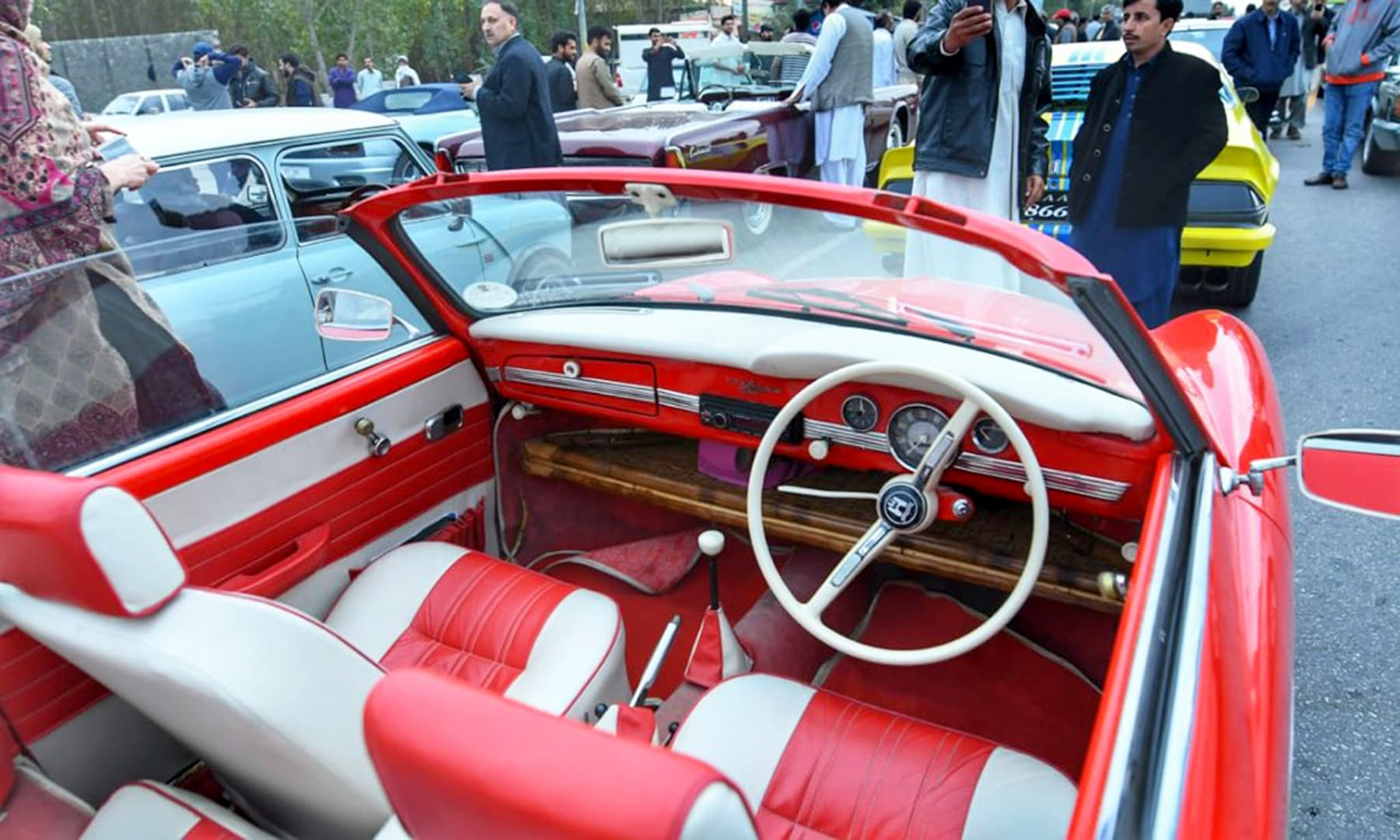 The well-maintained interior is evidence of the love for vintage cars in Pakistan. —@PTIofficial