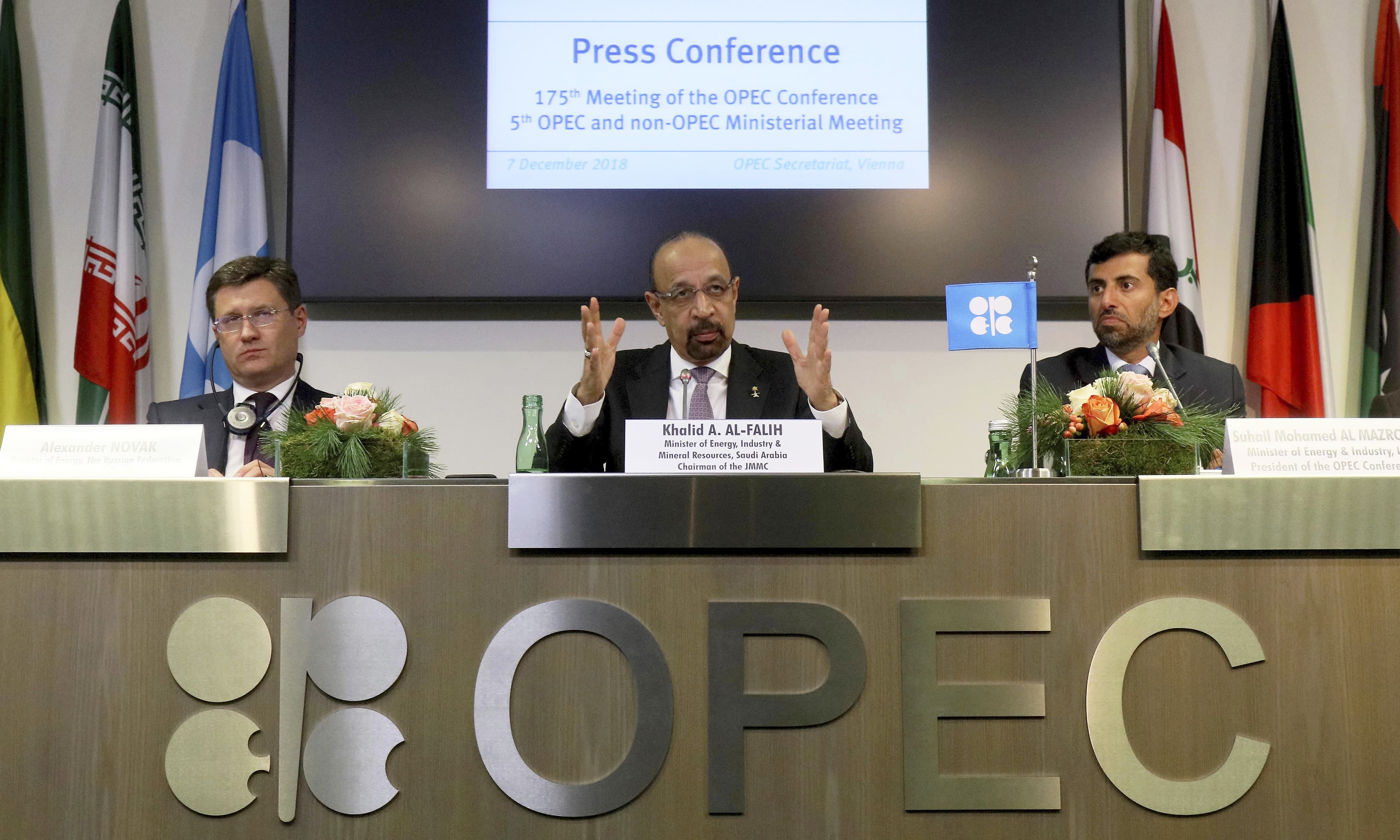 Russian Minister of Energy Alexander Novak, Minister of Energy, Industry and Mineral Resources of Saudi Arabia Khalid Al-Falih and Minister of Energy of the United Arab Emirates Suhail Mohamed Al Mazrouei (from left) attend a news conference after a meeting of OPEC, and non OPEC members in Vienna. —AP