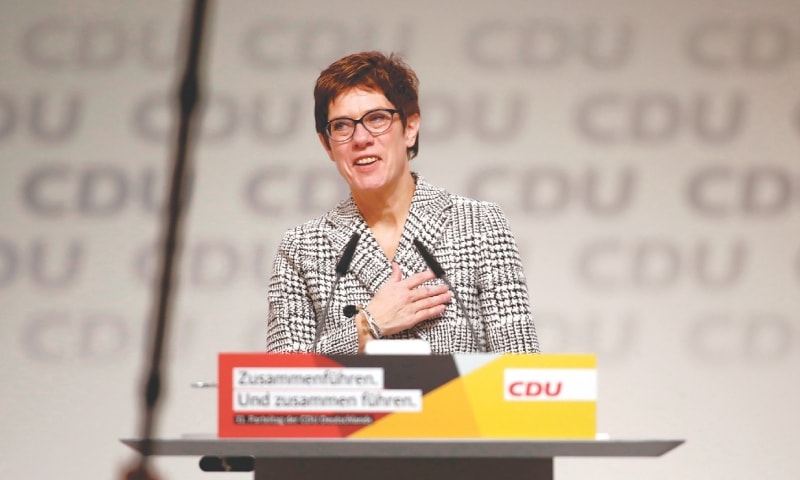 HAMBURG: Germany's conservative Christian Democratic Union party's secretary general Annegret Kramp-Karrenbauer gives a speech after being elected party's leader during the party's congress on Friday.—AFP