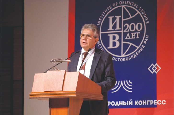 President of the Russian Academy of Sciences, Prof Alexander M. Sergev, addresses the International Congress dedicated to the 200th anniversary of the IOS