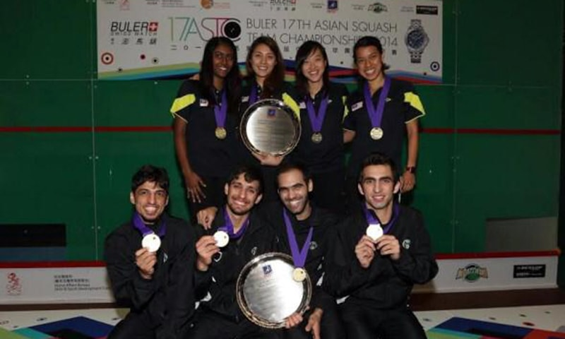 The winning teams of 2014 Asian Squash Team Championship. — Photo by author