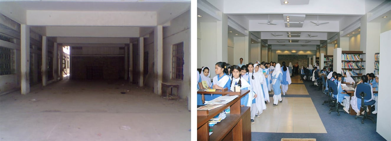 (Left to right): Before and after photos of the new school library at SMB Fatima Jinnah Government School | Photos courtesy the writer