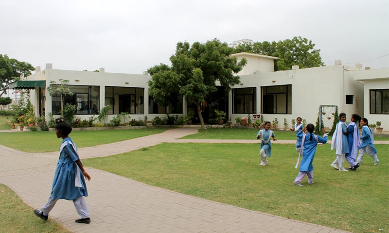 The administration block of the SMB Fatima Jinnah Government School after renovation.