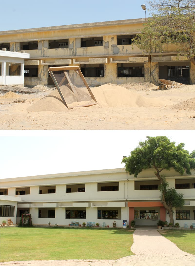 SMB Fatima Jinnah Government School's Primary Block before and after rehabilitation