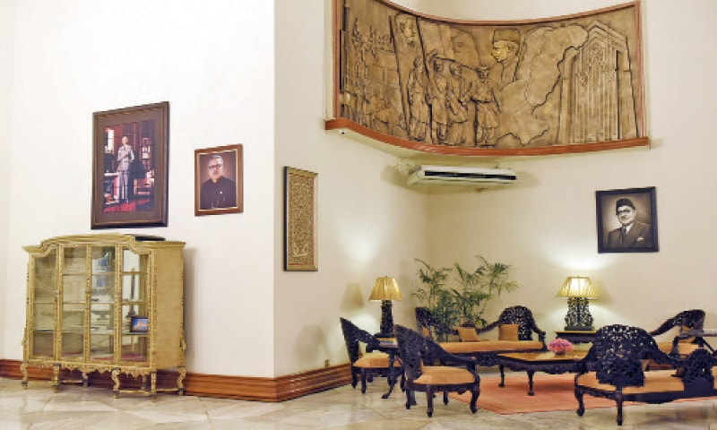 A Mural in the entrance leading to the Jinnah, Liaquat, Johar and Nishtar halls. Four murals, one in every corner of the space, depict the history of Pakistan, the independence movement and the progress and principles of the state. Quaid-i-Azam Mohammad Ali Jinnah's passport and account details are displayed in a showcase.