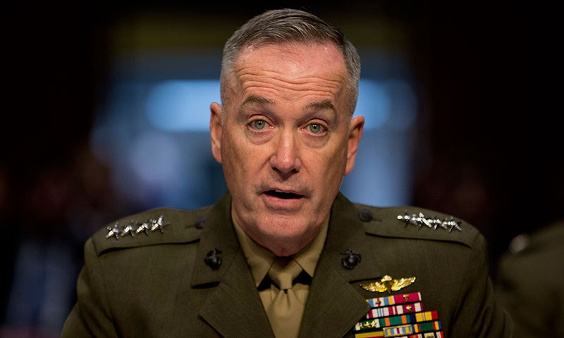 US military chief General Joseph Dunford thinks such a move may provide terrorists the space to plan another attack on the American people. ─ File photo