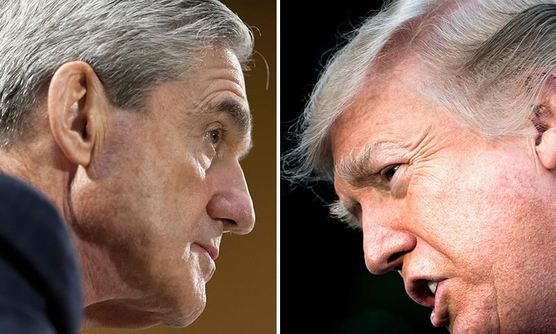 This combination of pictures created on January 8, 2018 shows files photos of FBI Director Robert Mueller (L) on June 19, 2013, in Washington, DC; and US President Donald Trump on December 15, 2017, in Washington, DC. ─ AFP