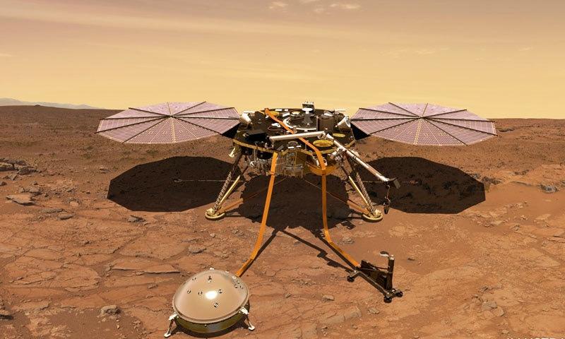 انسائٹ مشن 6 میں مریخ پر پہنچا—فوٹو: ناسا