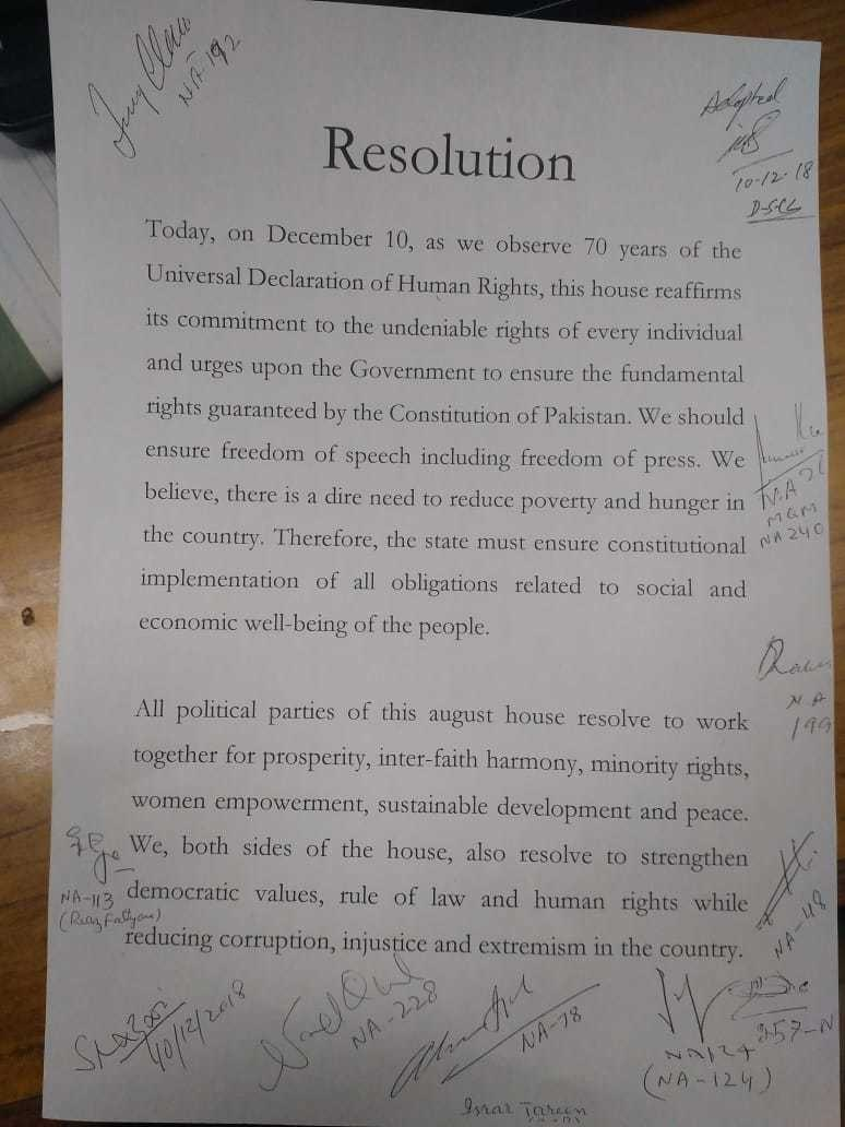 The resolution passed by NA on International Human Rights Day. — Photo by author