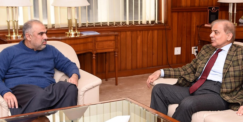 Opposition leader Shahbaz Sharif calls on Speaker Asad Qaiser. — Photo: NA Secretariat
