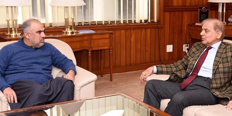 Opposition leader Shahbaz Sharif calls on Speaker Asad Qaiser. — Photo: NA Secretariat