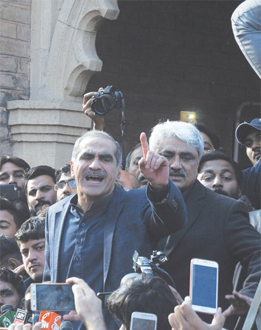 KHAWAJA Saad Rafique addresses supporters before being arrested by the National Accountability Bureau on Tuesday.—AFP