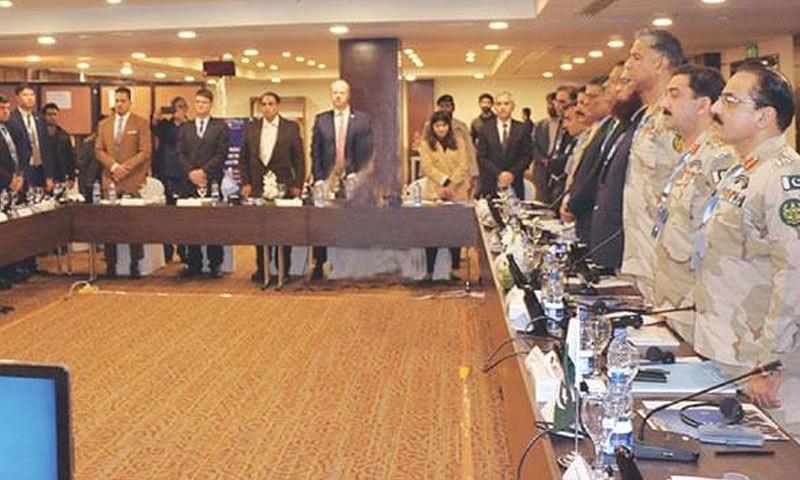 شرکا سہ فریقی اجلاس میں شریک — فوٹو، ڈان اخبار