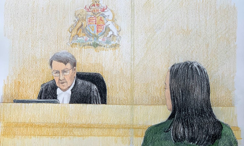 This courtroom sketch by Jane Wolsak and released to AFP by the artist shows Meng Wanzhou (R), Huawei's chief financial officer, listening in the courtroom in Vancouver, British Columbia, December 11, 2018. — AFP