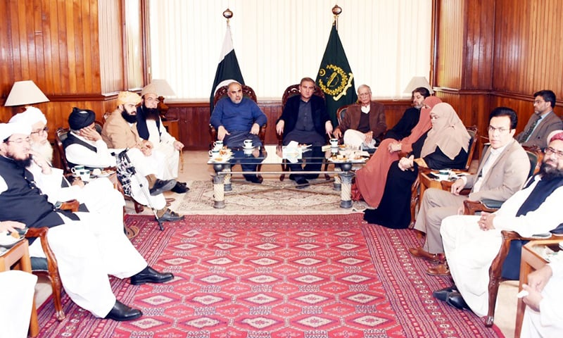 NA Speaker Asad Qaiser in a meeting with an MMA delegation. — Photo: NA Secretariat