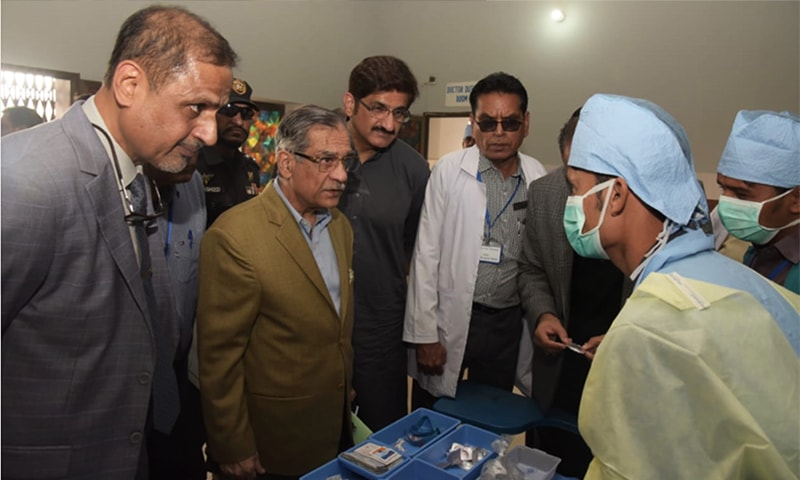 CJP Mian Saqib Nisar visits the operation theatre of Diplo Taluku Hospital. — Photo provided by author