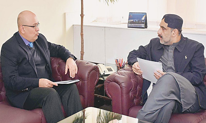ISLAMABAD: Ambassador of the Republic of Uzbekistan Furqat Sidiqov in a meeting with Federal Minister for National Food Security and Research Sahibzada Muhammad Mehboob Sultan.—APP