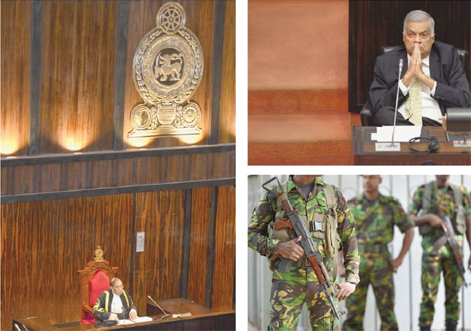 Colombo: Speaker of the Sri Lankan parliament Karu Jayasuriya (left) sitting during a crucial session on Wednesday. Ousted prime minister Ranil Wickremesinghe (top right) in deep thought during the parliamentary session. Soldiers stand guard near the supreme court.—AFP