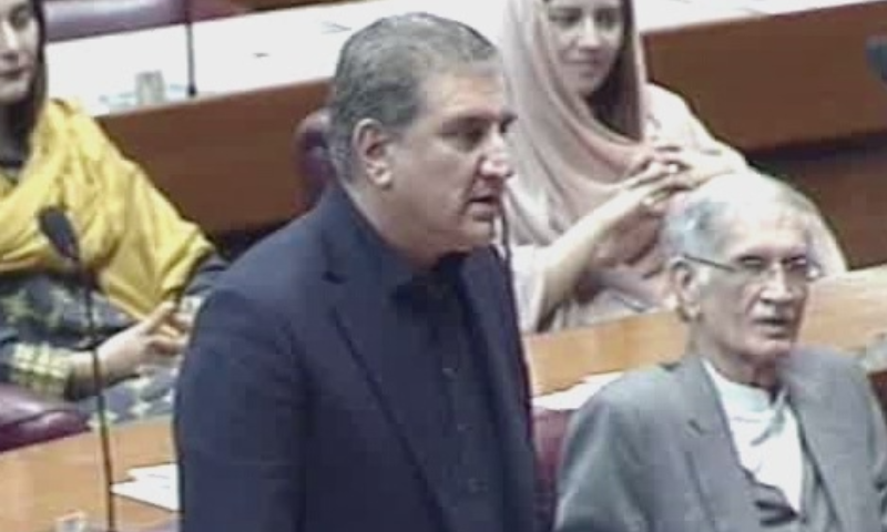 FM Qureshi addresses the parliament. — DawnNewsTV