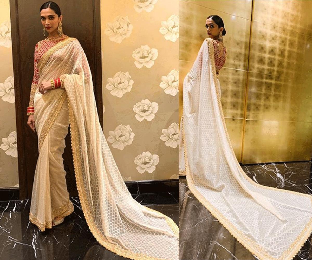 Deepika looking fiery in a customised sari.