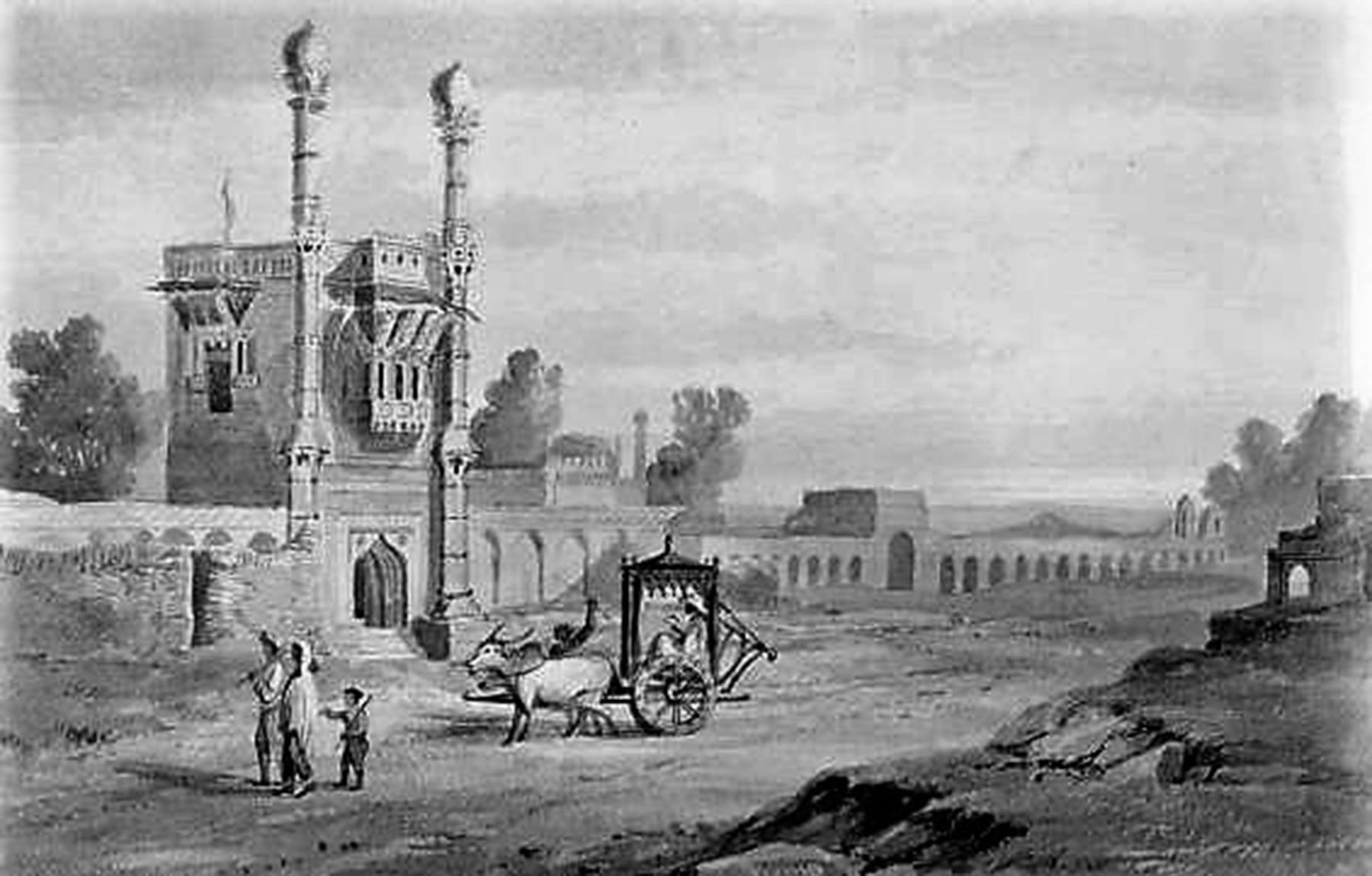 1844ء میں ٹھٹھہ شہر کا ایک منظر