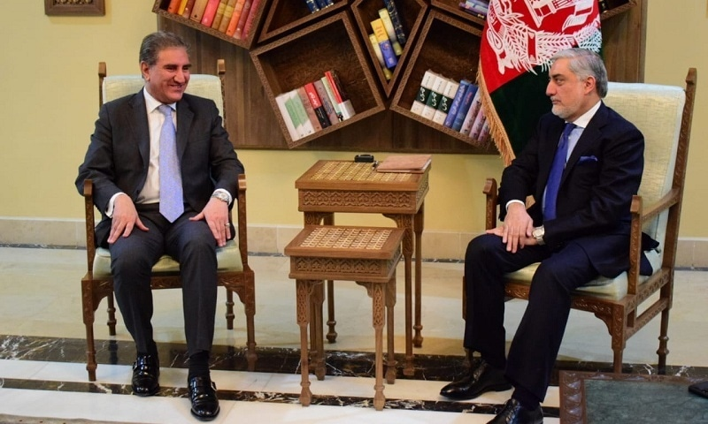 FM Qureshi holds a meeting with Afghan CEO Abdullah Abdullah. — photo by author