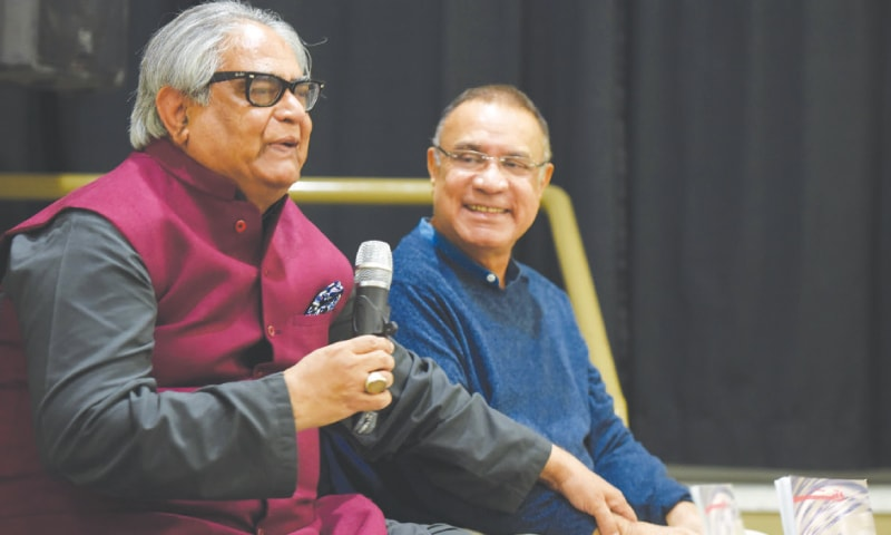 POET Iftikhar Arif accompanied by Dr Naumanul Haq speaks at the book launch.—White Star
