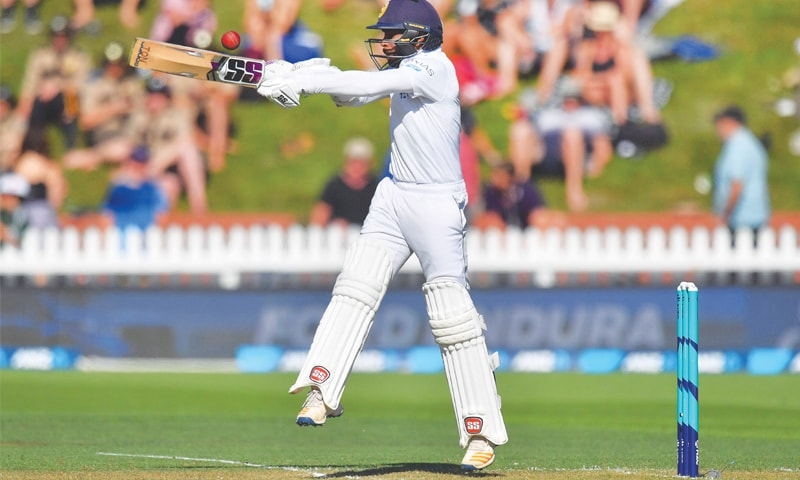 WELLINGTON: Sri Lankan batsman Niroshan Dickwella plays a stroke during the first Test against New Zealand at the Basin Reserve on Saturday.—AFP