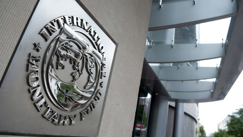 The logo of the International Monetary Fund at its headquarters in Washington.—AFP