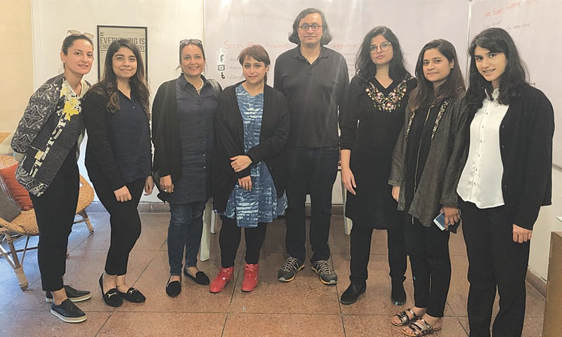 Left to right: Team LBF — Ayesha Jatoi, Fatima Rehman, Qudsia Rahim, Hoor Al Qasimi, Iftikhar Dadi, Zarmina Rafi, Rida Zainab and Fatima Imran